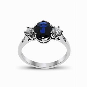Sapphire & Diamond White Gold Three Stone Ring 7 x 5 mm
